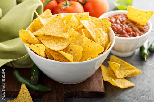 Fotografie, Obraz  Corn tortilla chips in big bowl