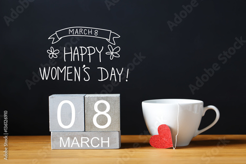Poster Countryside Women's Day message with coffee cup