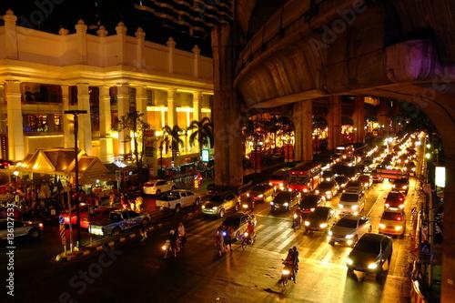 bangkok downtown night in business zone Wallpaper Mural