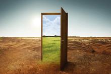 Open Wooden Door To The New Wo...