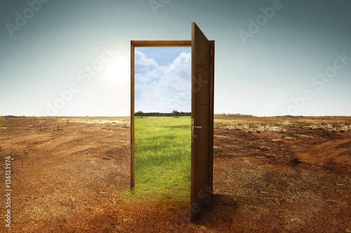 Zdjęcie XXL Otwórz drewniane drzwi do nowego świata z zielonym środowiskiem