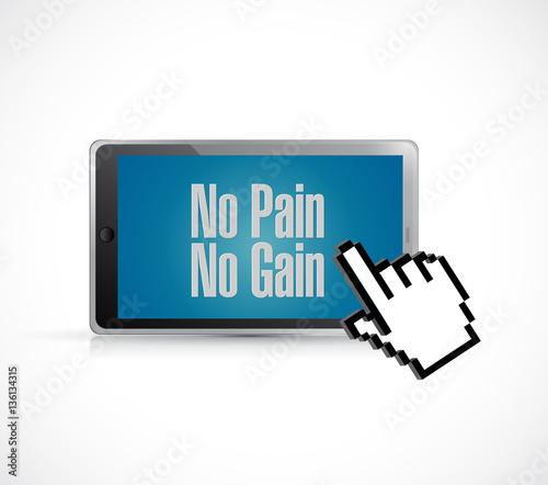 Fotografie, Obraz  tablet no pain no gain text sign concept