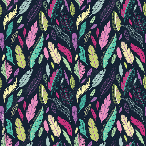 Aufkleber - Feathers vector seamless pattern