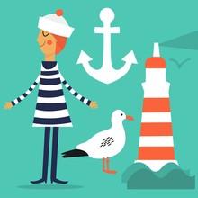 Vector Set. Cartoon Sailor, Lighthouse, Seagull And Anchor.