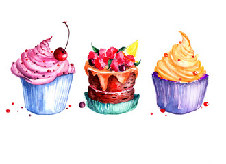 Naklejka Do kuchni Set - watercolor cakes. Cream cakes, cakes with berries, cake with cherry. Illustration isolated on white background. It can be used as a postcard.