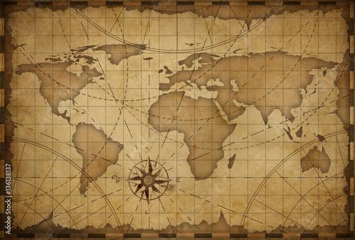 Acrylic Prints World Map old world nautical map vintage background