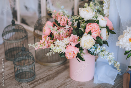 Pink And Cream Peonies In A Pink Vase Next Delicate Birdcages