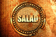 salad, 3D rendering, text on metal