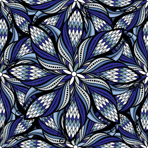 Cotton fabric Seamless vector vintage hand drawn mandala pattern.Vector