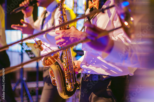 musician plays the saxophone performance at a concert Wallpaper Mural