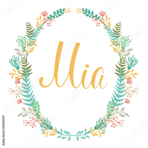 Photo  Frame of flowers and ferns with girl's name Mia