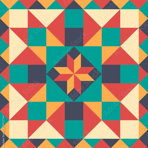 Seamless pattern in style of patchwork, vector. Fototapete