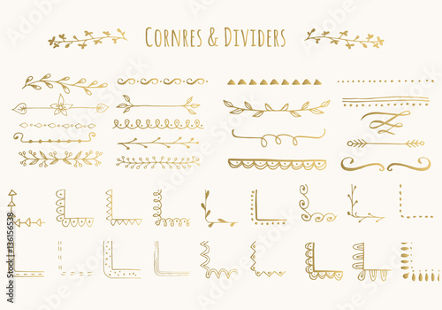 Photo Vector golden corners and dividers. Isolated.