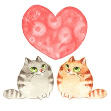 Cartoon Cats. Valentine's Day. Watercolor Card