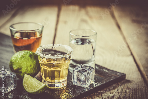 Aluminium Prints Bar Selection of alcoholic drinks
