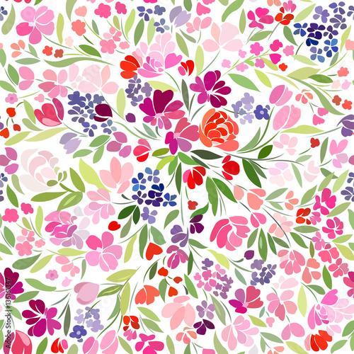 Materiał do szycia jasny dywan kwiatowy