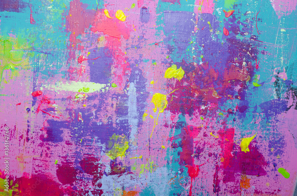 Fototapeta Abstract acrylic painted multicolor background on the canvas