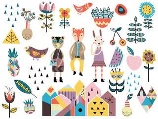 Obraz Set of cute scandinavian style elements and animals.