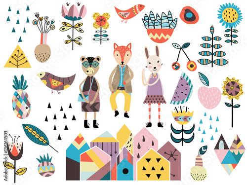 Zestaw elementów cute i stylów skandynawskich i zwierząt.