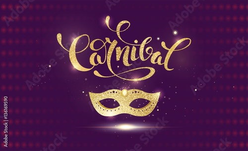 golden carnival masquerade mask isolated on purple background