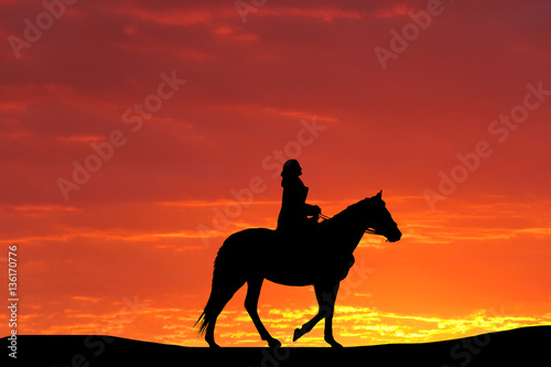 Foto op Aluminium Texas silhouette of a horse and the girl against the backdrop of a beautiful sunset