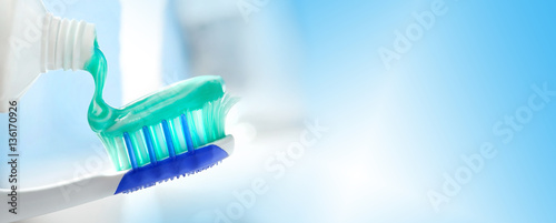 Fotografie, Obraz  Dental brush and tube with toothpaste.