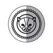 stamp sticker silhouette kitty animal vector illustration