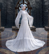 Mysterious Woman With Long White Dress