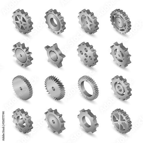 Photo  Set of web icons metal mechanical gears