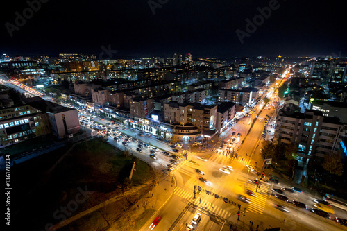 Night view of the crossroad between Bill Clinton Boulevard and George W Bush Boulevard seen from the Mother Tereza Cathedral in Pristina, capital city of Kosovo Canvas Print