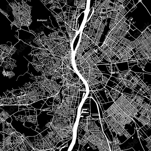 Photo Budapest Vector Map