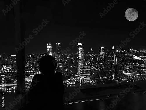 Lonely Night in the Big City on Black and white.