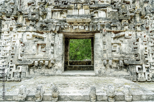 Fotobehang Rudnes sight of the front of the house of the mouth of the snake in the archaeological place of Chicanna, in the reservation of the biosphere of Calakmul, Campeche, Mexico.