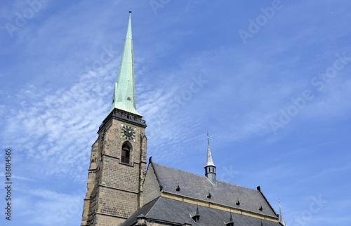 Architecture from Plzen and cloudy sky Poster