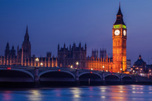 Big Ben In Westminster On River Thames, London At Night