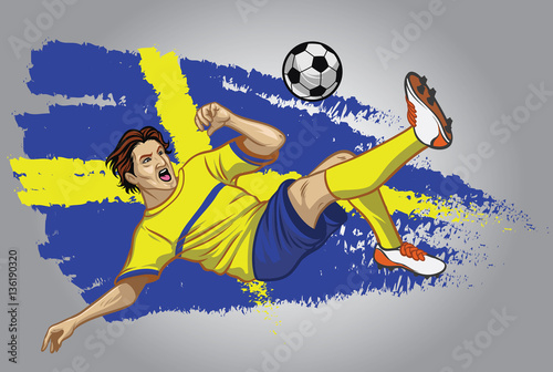 Autocollant pour porte Super heros sweden soccer player with flag as a background
