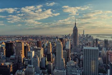 Manhattan skyline in New York City at sunset