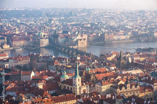 Spoed Foto op Canvas Krakau Aerial view of Prague