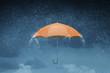canvas print picture - Color umbrella in sky . Mixed media