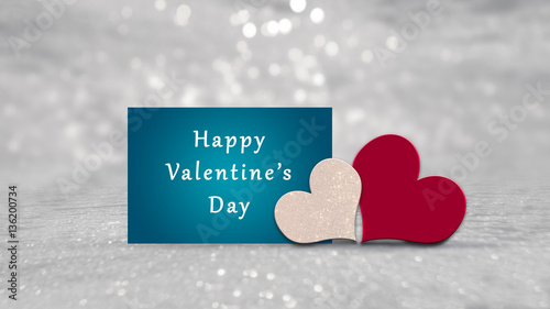 Valentines Card With Red And White Glitter Hearts On Silver