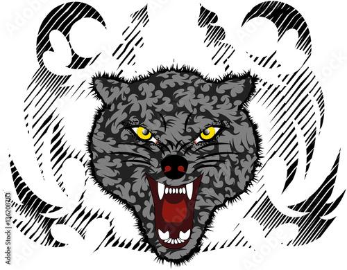Photo sur Toile Croquis dessinés à la main des animaux Wolf illustratoin