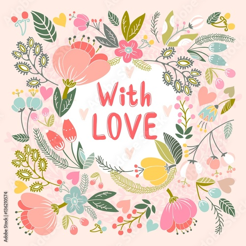 Beautiful Greeting Card With Love Bright Illustration Can Be Used As Creating Cardinvitation For Weddingbirthday And Other Holiday Cute