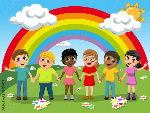 Foto op Canvas Regenboog Multiracial Children kids hand in hand meadow rainbow