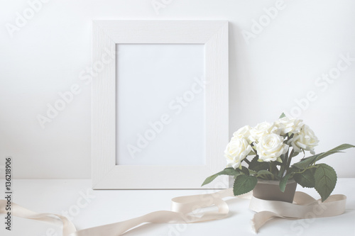 Canvas Prints Textures Picture Frame With Flower Bouquet.