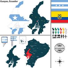 Map Of Guayas, Ecuador