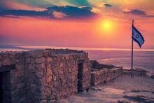 Beautiful Sunrise Over Masada Fortress. Ruins Of King Herod's Palace In Judaean Desert.