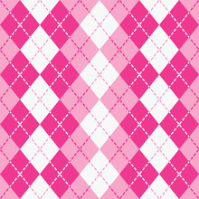 Dashed Argyle In Pink And White