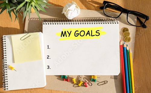 Photo  Notebook with Toolls and Notes about My Goals