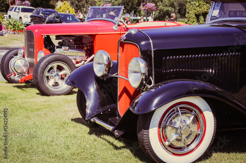 Keuken foto achterwand Vintage cars Old cars show ,editorial shot in the beautiful city of Victoria, Canada