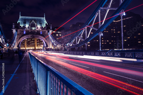 Poster London Tower Bridge traffic light trails in London at night